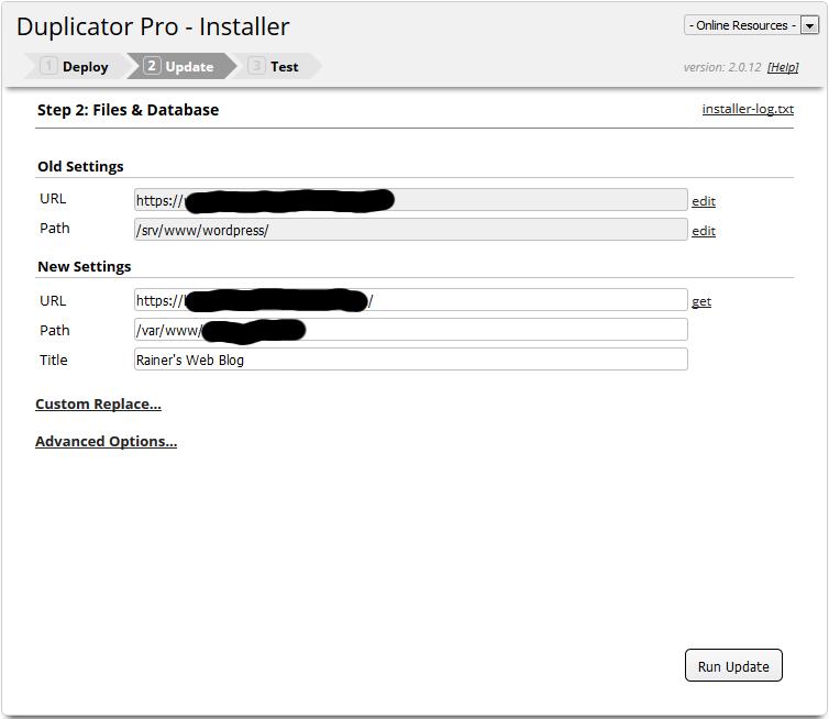Installer Step 2, Update