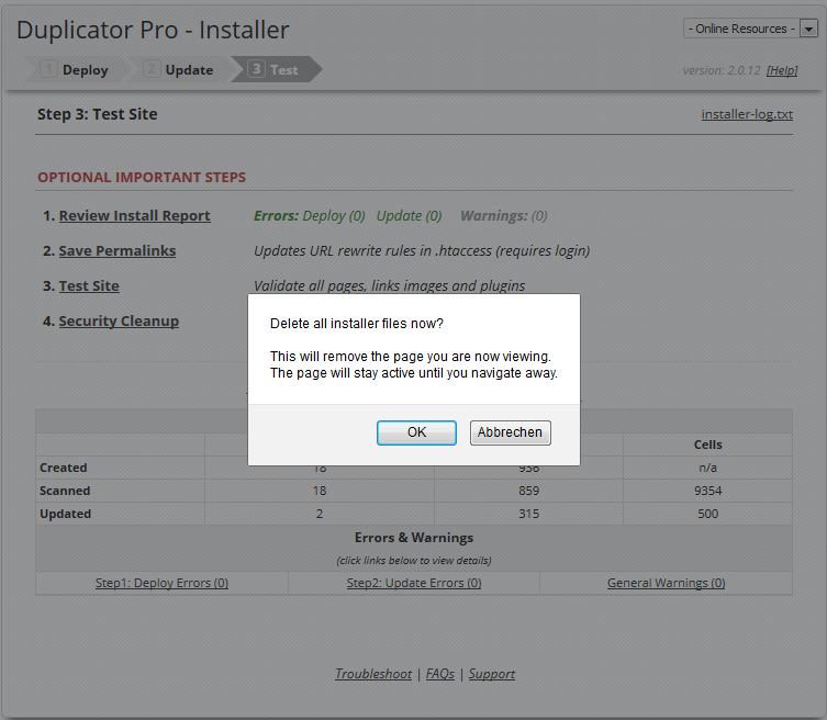Installer Step 3, Security Cleanup