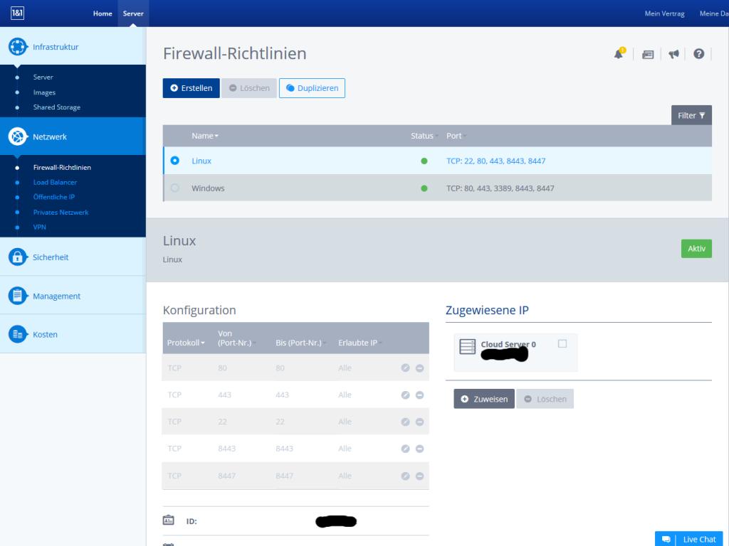 Cloudpanel Firewall linux