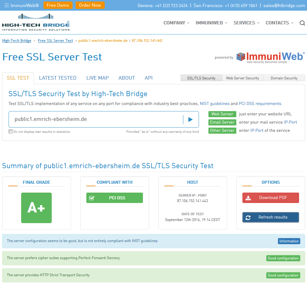 Free SSL Server Test, Report Summary