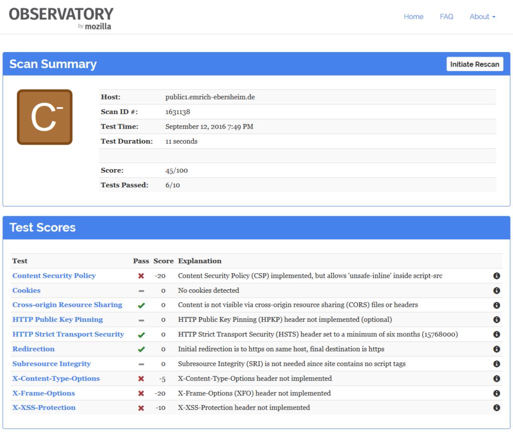 Mozilla Observatory, Scan Summary