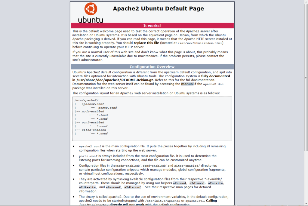 Ubuntu 16.04, Apache Default Page