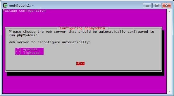 phpMyAdmin, configure Webserver
