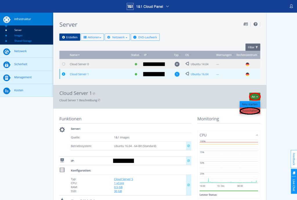 Cloudpanel, Server ausschalten
