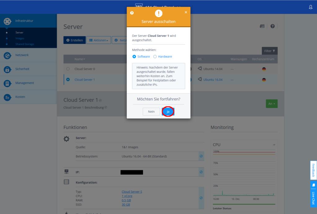 Cloudpanel, Server ausschalten bestätigen