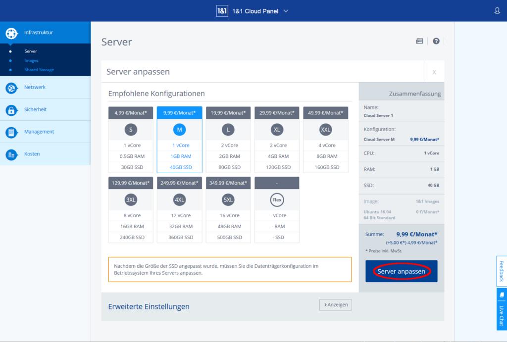 Cloudpanel, Serverkonfiguration M ausgewählt