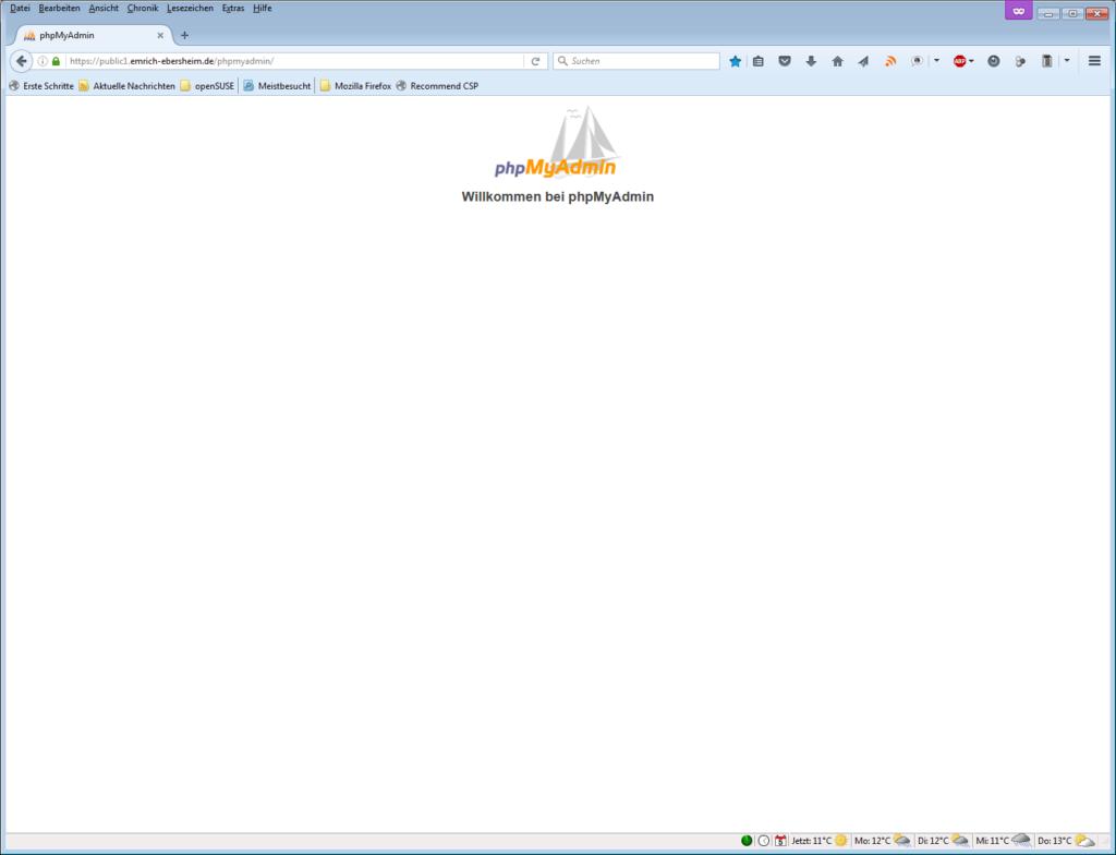 phpMyAdmin, Startseite ohne Loginmaske