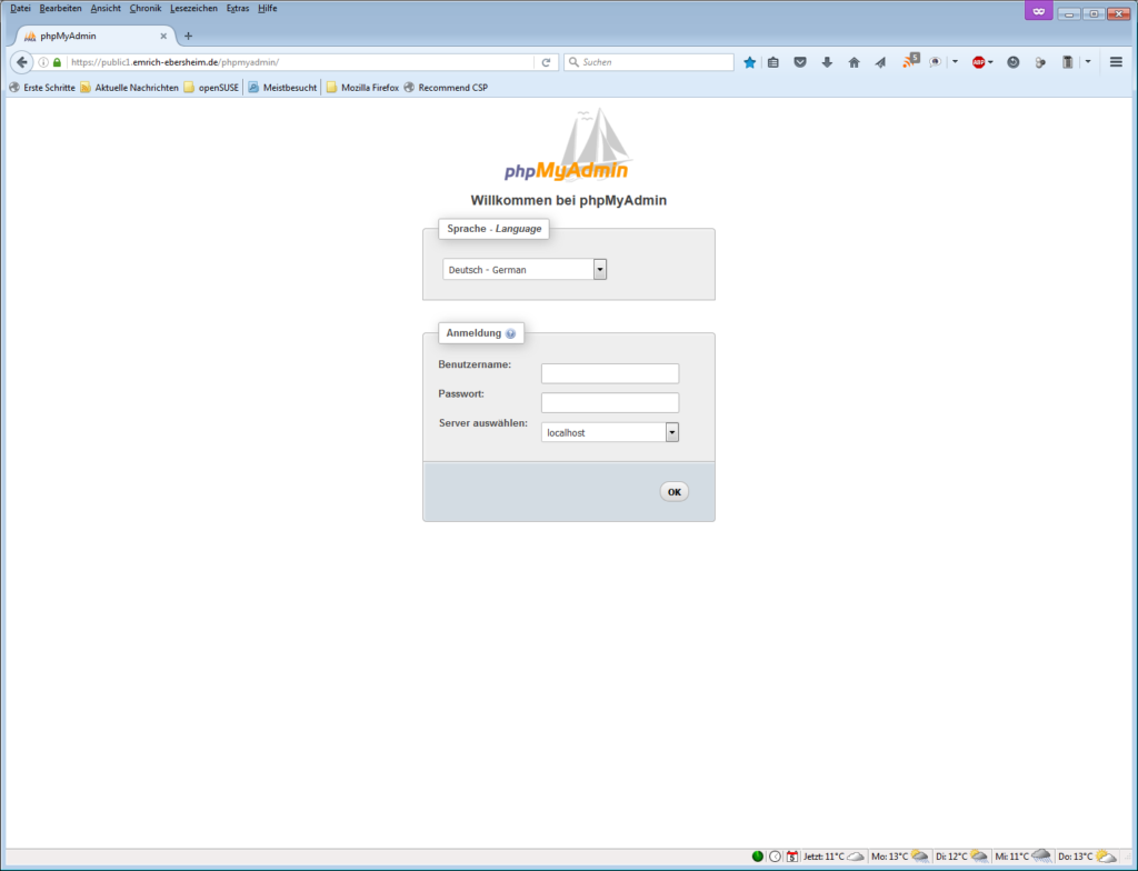 phpMyAdmin Startseite