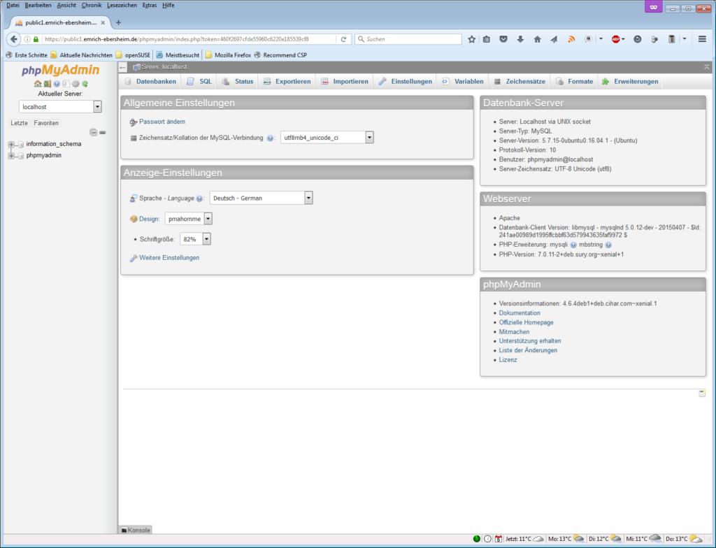 phpMyAdmin, phpmyadmin Datenbank